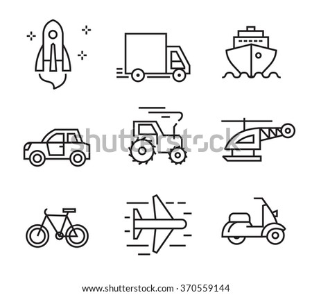 vector black flat transport icons on white