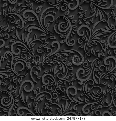stock vector vector black floral seamless pattern with shadow for invitation cards decor and decorating 247877179 - Каталог — Фотообои «3D Текстуры»