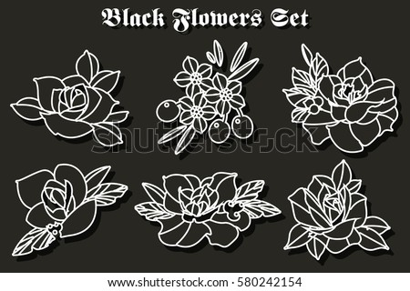 New school tattoo download free vector art stock graphics images vector black flowers stickers set traditional tattoo designs maxwellsz
