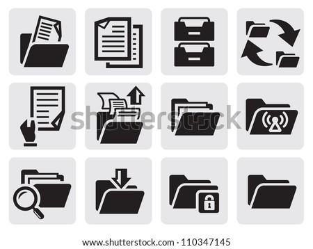 vector black folder icons set on gray