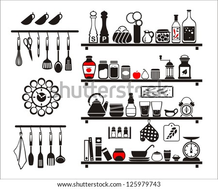 Vector black food and drinks icons set, drawn up as kitchen shelves