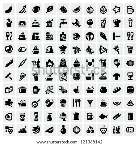 vector black food icons set on gray