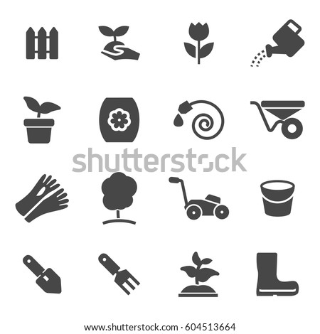 Vector black gardening icons set on white background