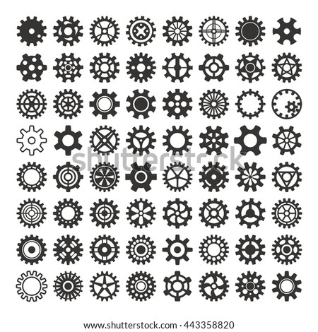Vector black gears icons set machine wheel mechanism machinery mechanical, technology technical sign