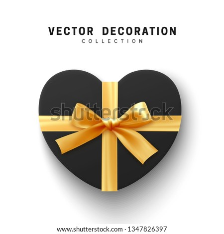 Vector black Gifts box. Isolated realistic gift presents in heart shape view top.
