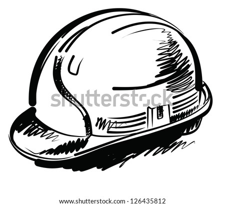 Vector Black Hand Draw Illustration Of Construction Hat