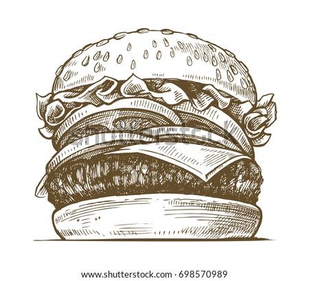 vector black hand drawn hamburger on white background