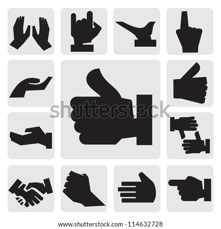 vector black hands icon set on gray