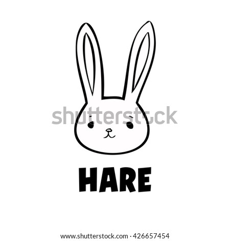 vector black hare icon  little