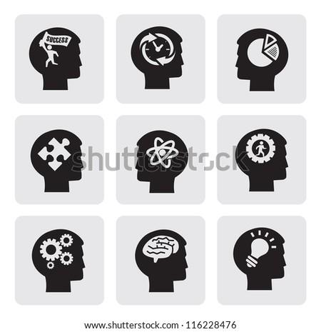 vector black head icons set on gray