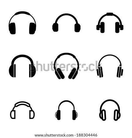 Vector black headphone icons set on white background