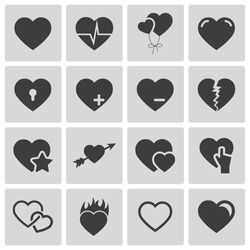 Vector black hearts icons set