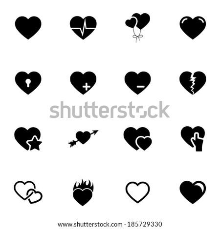 vector black hearts icons set