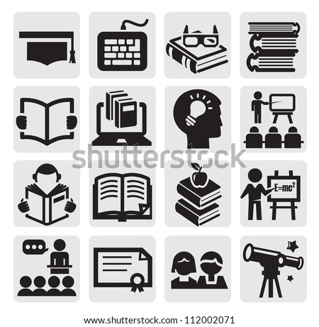 vector black higher education icons set on gray