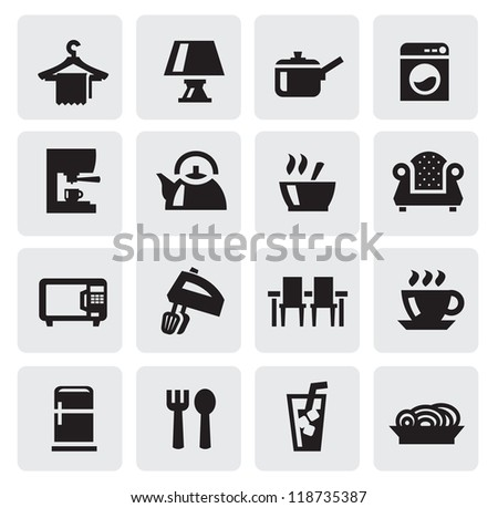 vector black home appliances icons set on gray