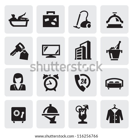 vector black hotel icons set on gray