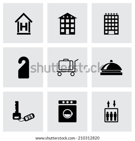 Vector black hotel icons set on grey background #210312820
