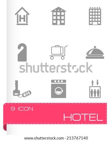 Vector black hotel icons set on white background #213767140