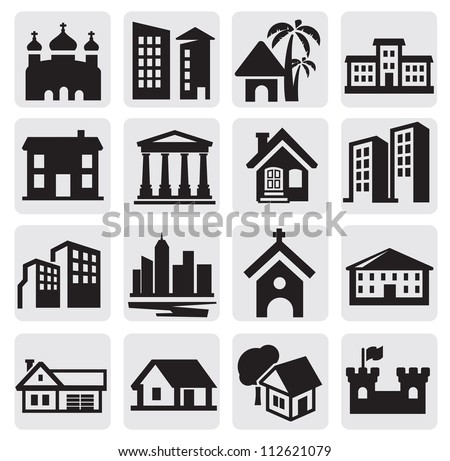 vector black hous icons set on gray