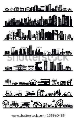 vector black houses and city