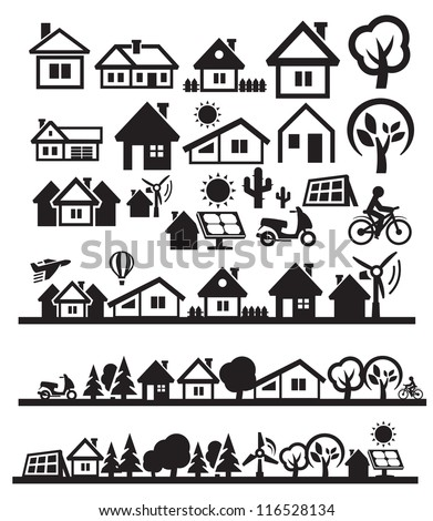 vector black houses icons set on gray