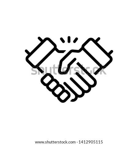 Vector black icon for handshake Stock photo ©
