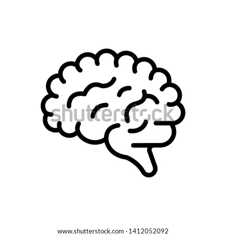 Vector black icon for human brain