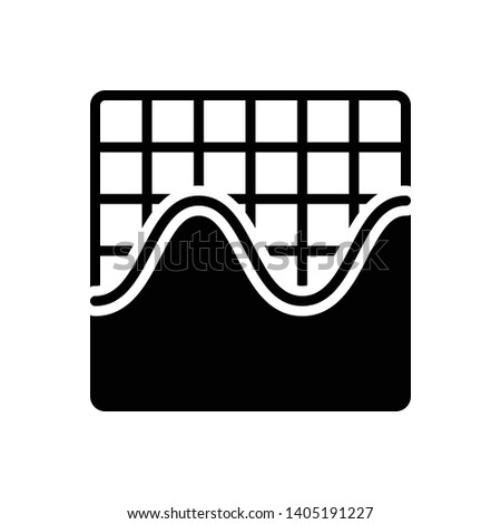 Vector black icon for sine wave graphic, frequency ,waveform ,amplitude ,equalizer