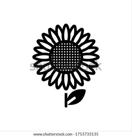 vector black icon for sunflower