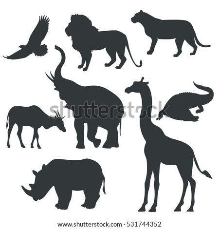vector black icons of animals