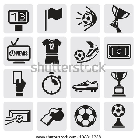 vector black icons set soccer