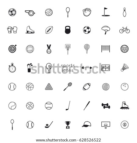 Vector black icons: sports equipment