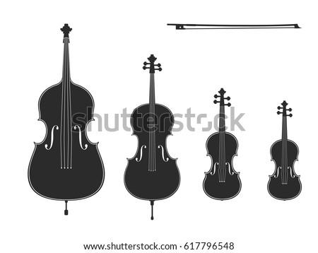 Vector Black Illustrations Collection On White Background Violin Viola Cello Contrabass