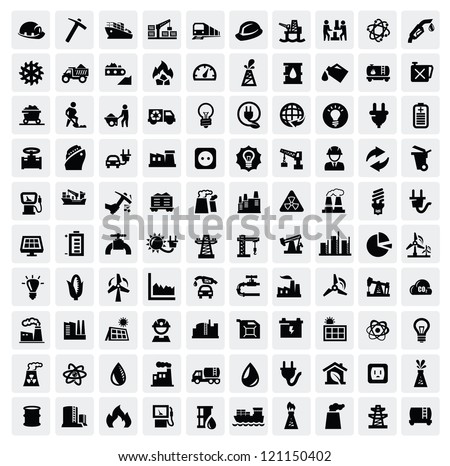 vector black industry icons set on gray
