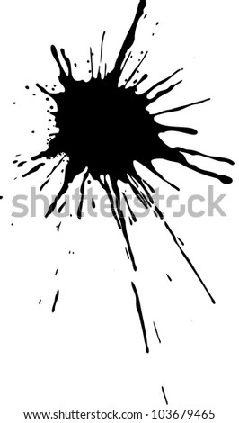 vector black ink splashes on white background