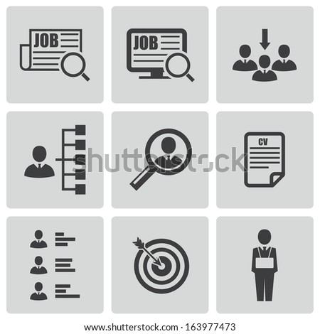 vector black job search icons