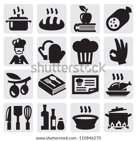 vector black kitchen icons set on gray