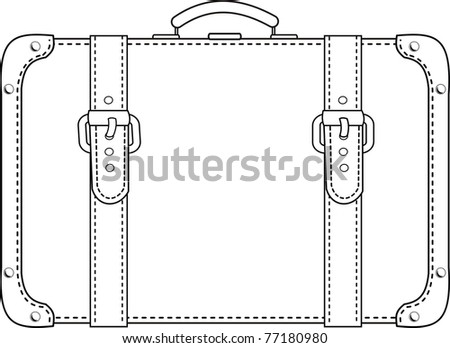 Vector black leather suitcase with straps contour - isolated illustration on white background