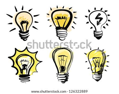 vector black light bulbs icon set on white