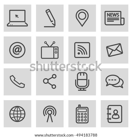 Vector black line communication icons set on grey background