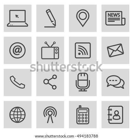 Vector black line communication icons set on grey background