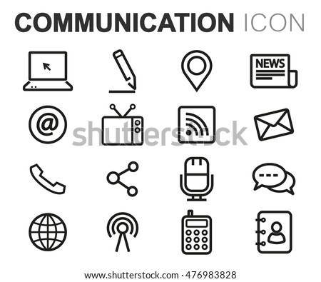 Vector black line communication icons set on white background