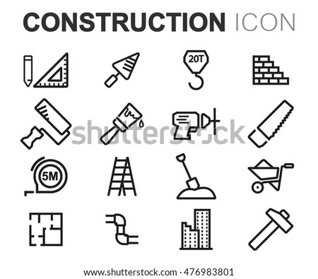 Vector black line construction icons set on white background