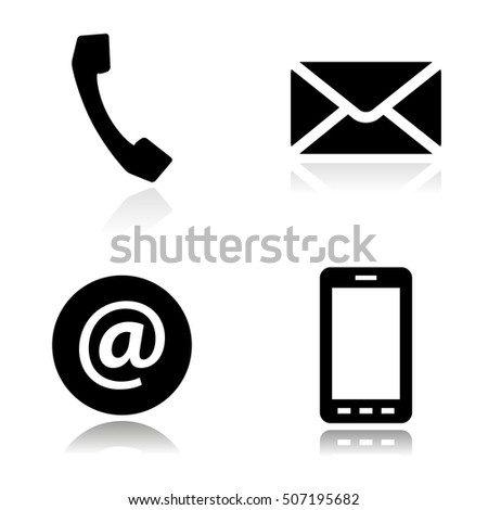 Vector black line contact icons set on white background