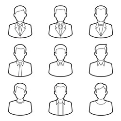 Vector black line icons set of business men. Modern flat style design. Isolated on white background
