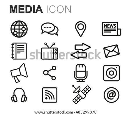 Vector black line media icons set on white background