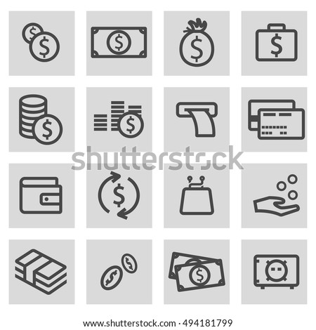 Vector black line money icons set on grey background