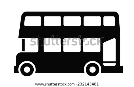 vector black London bus icon on white background
