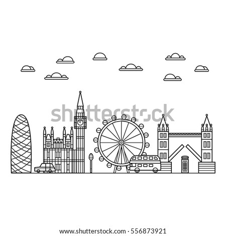 vector black london icon set on