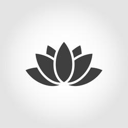 Vector black lotus icon on grey background